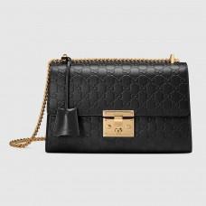 Gucci Black Padlock Medium Guccissima Shoulder Bag
