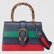 Gucci Navy Stripe Dionysus Small Bamboo Top Handle Bag