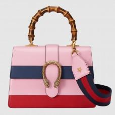 Gucci Pink Stripe Dionysus Small Bamboo Top Handle Bag