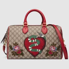Gucci Limited Edition GG Supreme Embroideries Top Handle Bag
