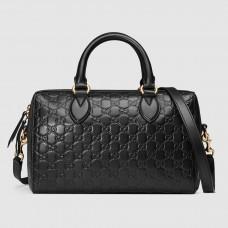 Gucci Black Signature Medium Top Handle Bag
