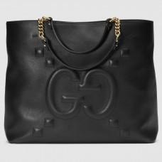 Gucci Black Medium GG Leather Tote