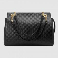 Gucci Black Signature Large Shoulder Bag