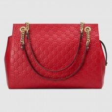 Gucci Red Signature Large Shoulder Bag