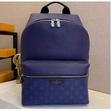 Louis Vuitton Monogram Canvas and Taiga Leather Discovery Backpack PM Bag M30229 Blue 2019