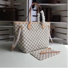 Louis Vuittom damier azur Canvas Neverfull MM Bag beige N41361