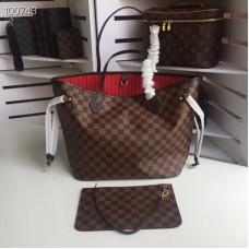 Louis Vuittom damier ebene Canvas Neverfull MM Bag cherry N41358