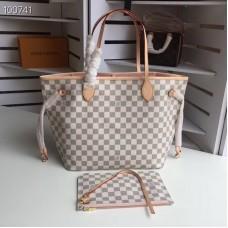 Louis Vuittom damier azur Canvas Neverfull MM Bag  Rose Ballerine N41605