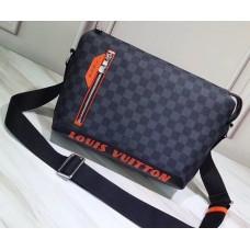 Louis Vuitton Damier Cobalt Canvas Discovery Messenger PM Bag Orange Logo 2019
