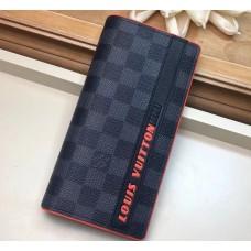 Louis Vuitton Damier Cobalt Canvas Brazza Wallet Orange Logo 2019