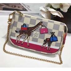 Louis Vuitton Damier Azur Canvas Animal Print Mini Pochette Bag N58010 2017
