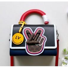 Louis Vuitton LV Twist MM Top Handle Bag in Epi Leather M52514 Blue/Black 2018