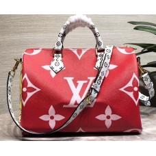 Louis Vuitton Monogram Canvas Speedy 30 Bandouliere Bag M44573 Red/White/Pink 2019