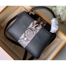 Louis Vuitton Capucines BB Bag Central Stripe Python N94220 Black