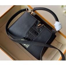 Louis Vuitton Capucines BB Bag Central Stripe Crocodile Black