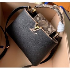 Louis Vuitton Capucines BB Bag Python Handle and Flap N95509 Black