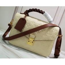 Louis Vuitton Braided Handle Monogram Empreinte Pochette Metis Bag M53940 Creme Beige 2019