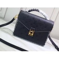 Louis Vuitton Braided Handle Monogram Empreinte Pochette Metis Bag M43942 Black 2019
