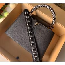 Louis Vuitton Capucines BB Bag Braided Handle and Strap M55236 Black