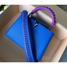 Louis Vuitton Capucines BB Bag Braided Handle and Strap M55236 Blue