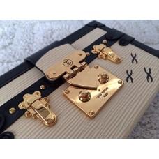 Louis Vuitton Epi Leather Trim Petite Malle Bag beige
