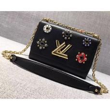 Louis Vuitton Flower Embellished Epi Twist MM Bag Black