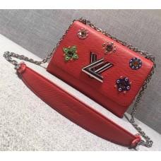 Louis Vuitton Flower Embellished Epi Twist MM Bag Red
