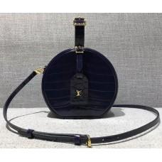 Louis Vuitton Croco Pattern Petite Boite Chapeau Bag Navy Blue 2018