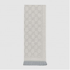 Gucci Grey GG Jacquard Knitted Scarf