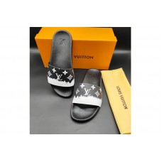 Louis Vuitton 1A3PSB LV Waterfront Mule Sandal in Black Monogram rubber