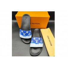 Louis Vuitton 1A3PSB LV Waterfront Mule Sandal in Blue Monogram rubber