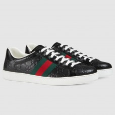 Gucci Men's Ace Black Signature Sneaker