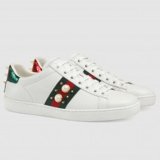 Gucci Women Ace Studded White Leather Sneaker
