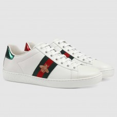 Gucci White Women Ace Embroidered Bee Sneaker