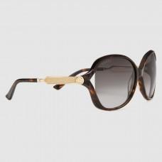Gucci Tortoiseshell Frame Acetate and Metal Sunglasses