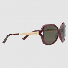 Gucci Burgundy Frame Acetate and Metal Sunglasses