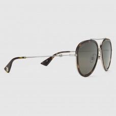 Gucci Tortoiseshell Aviator Metal Sunglasses