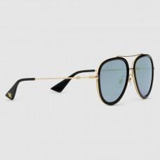 Gucci Black Aviator Metal Sunglasses