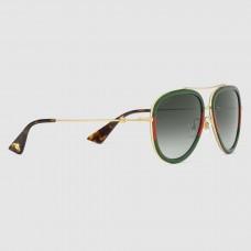 Gucci Green Aviator Metal Sunglasses