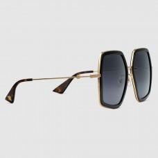 Gucci Black Oversize S quare Frame Metal Sunglasses