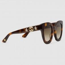 Gucci Tortoiseshell Round-frame Acetate Sunglasses With Star