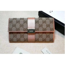 Gucci 233028 Continental GG Fabric with Leather Wallet Pink
