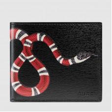 Gucci Black Kingsnake Print Leather Bi-fold Wallet