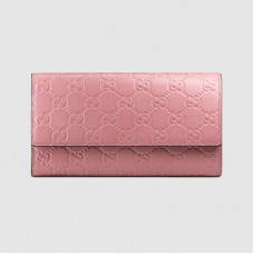 Gucci Continental Flap Wallet In Pink Guccissima Leather