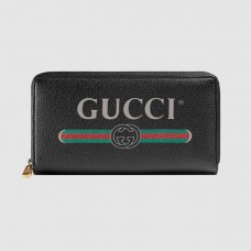 Gucci Black Print Leather Zip Around Wallet