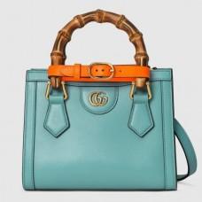 Gucci Diana Mini Tote Bag In Blue Leather