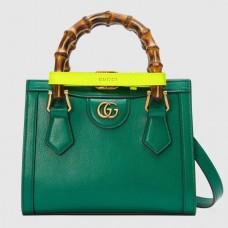 Gucci Diana Mini Tote Bag In Green Leather