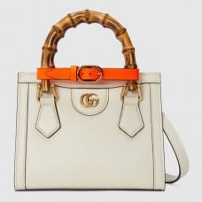Gucci Diana Mini Tote Bag In White Leather