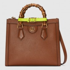 Gucci Diana Small Tote Bag In Brown Leather