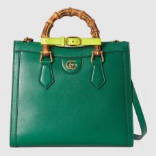 Gucci Diana Small Tote Bag In Green Leather